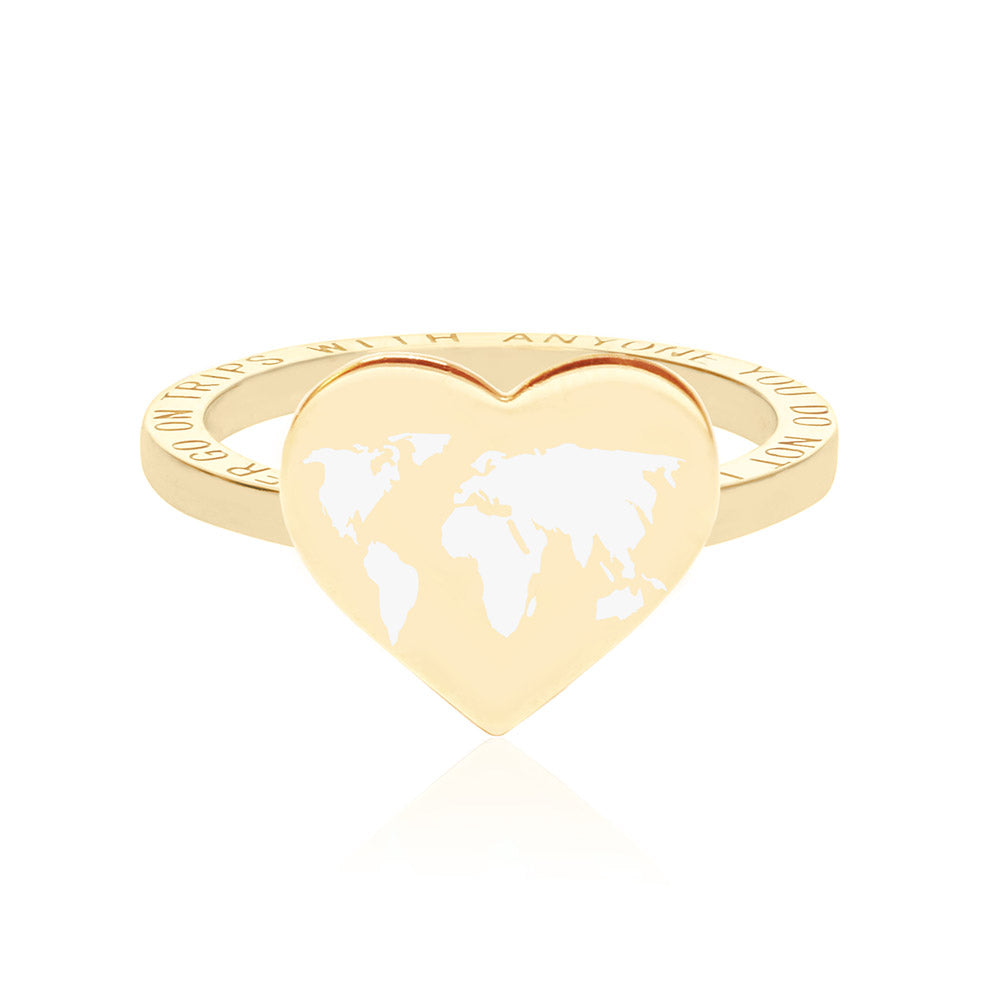 Gold World Heart Map Ring with White Enamel (SHIPS MID DEC.)