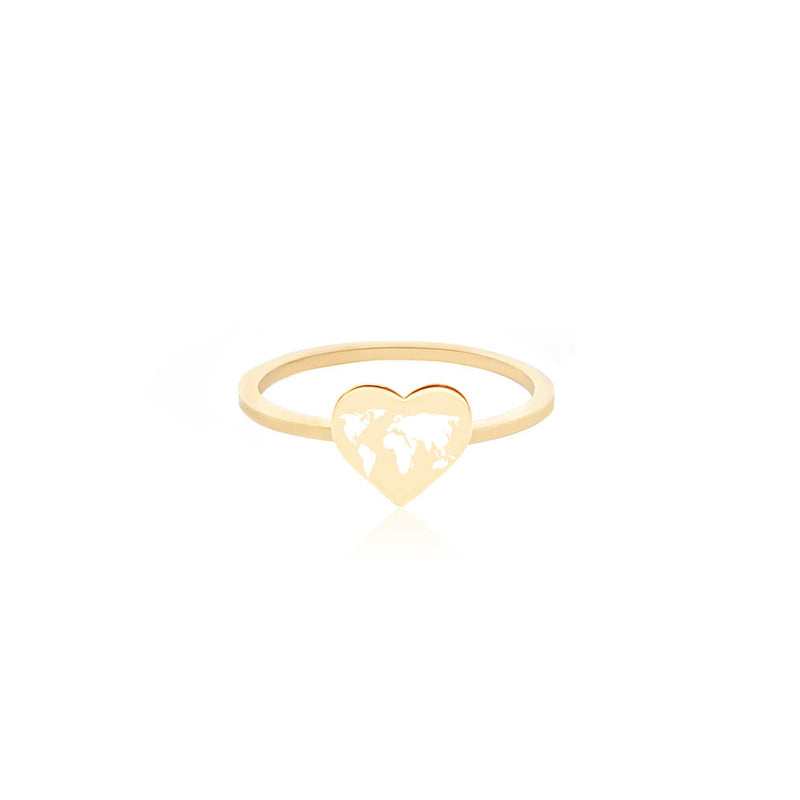 Gold World Heart Map Midi Ring with White Enamel (SHIPS MID DEC.)