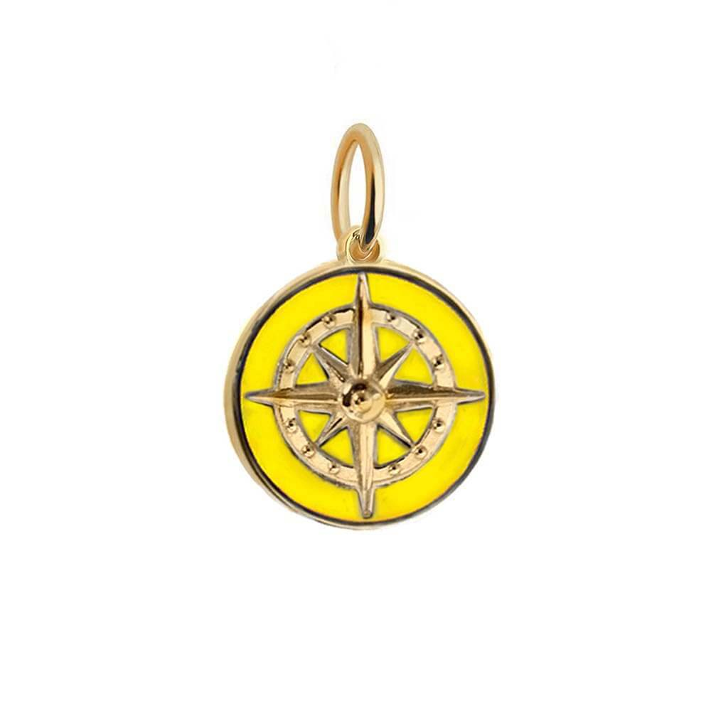 Large Gold Yellow Enamel Compass Charm - JET SET CANDY