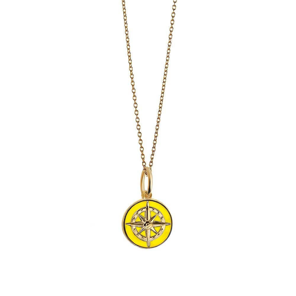 Gold Mini Yellow Enamel Compass Charm - JET SET CANDY