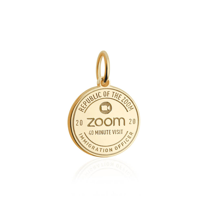 PRE ORDER: Gold Zoom Passport Stamp Charm (SHIPS LATE APRIL)