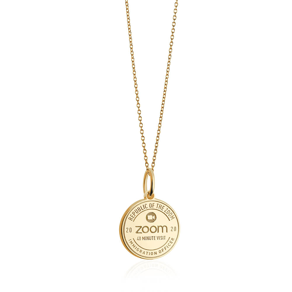 PRE ORDER: Solid Gold Zoom Passport Stamp Charm (Allow 8 weeks)