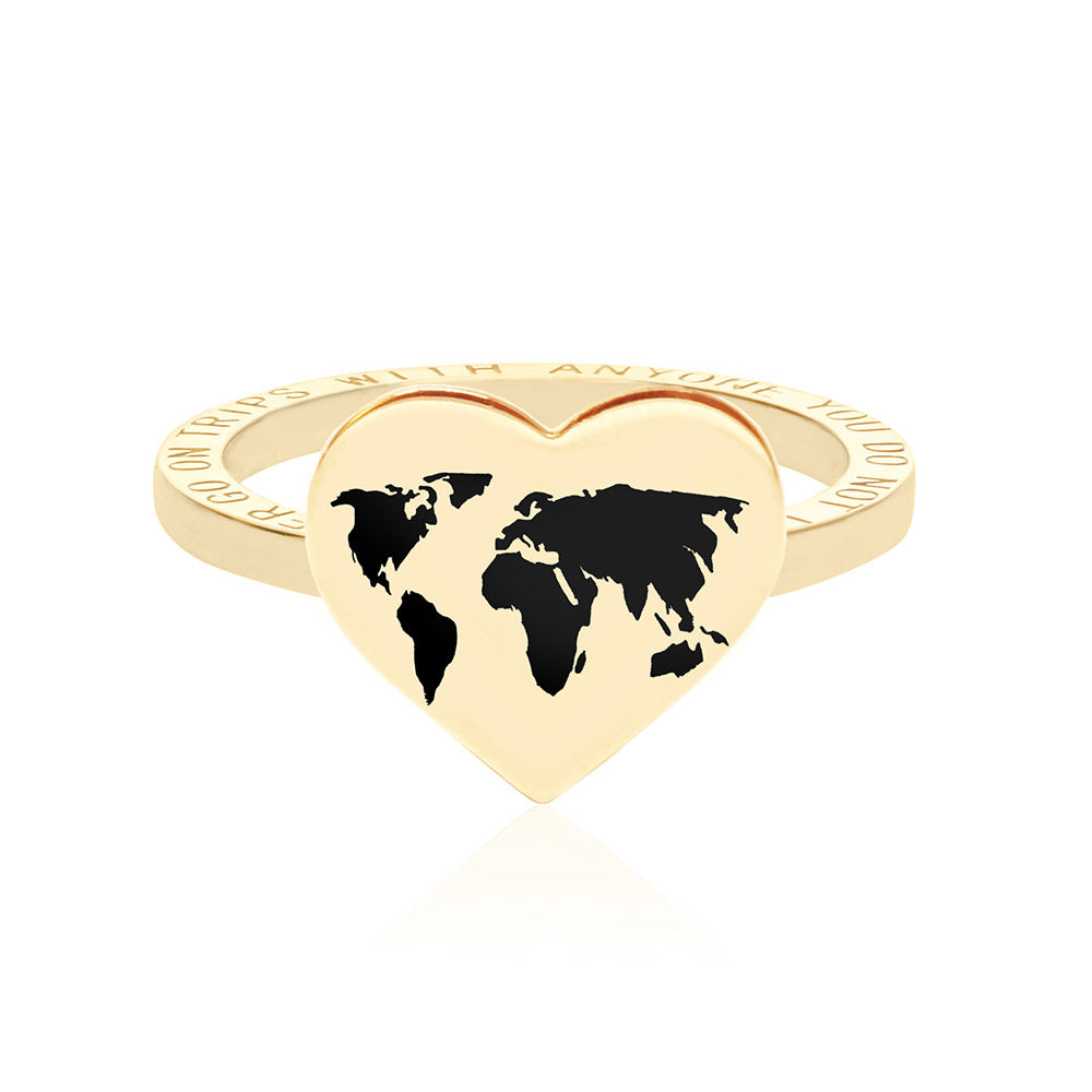 Gold World Heart Map Ring with Black Enamel (SHIPS MID DEC.)