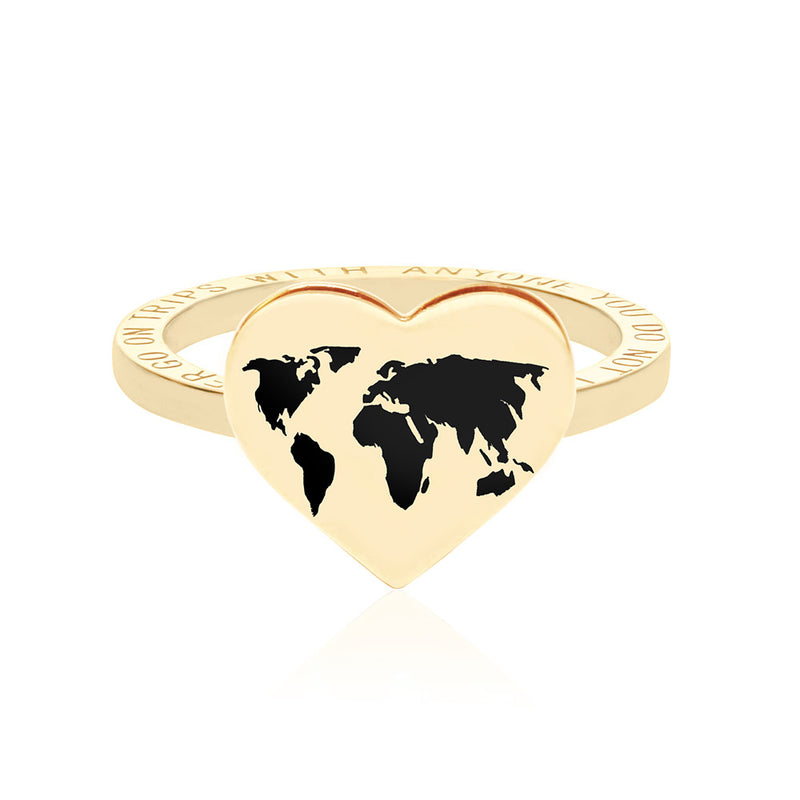 Gold World Heart Map Ring with Black Enamel