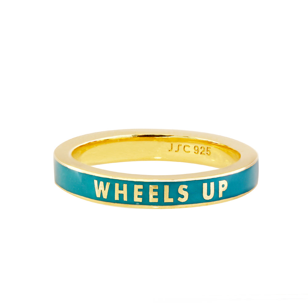 Teal Green Enamel Gold Ring, Take Me Away - JET SET CANDY