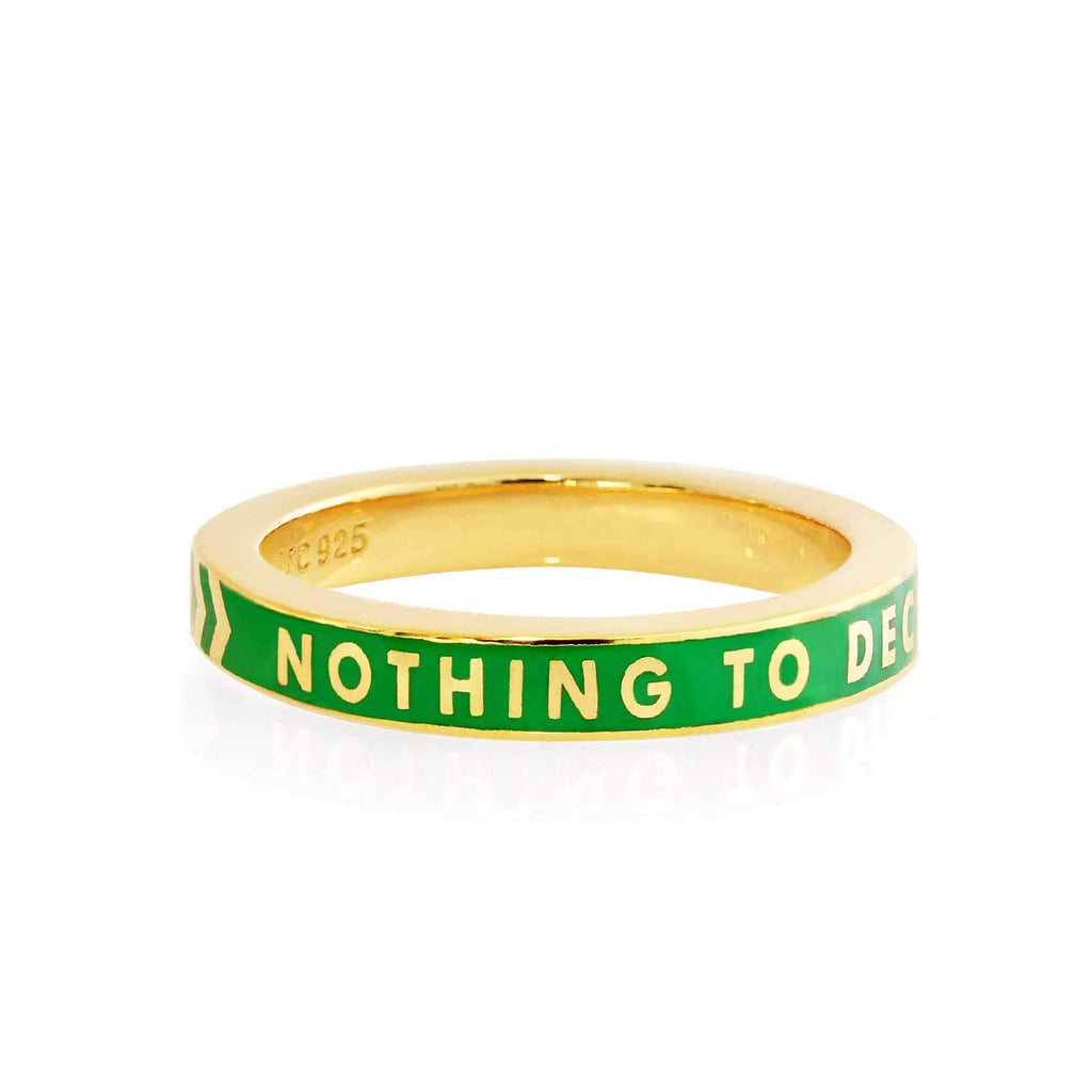 Green Enamel Gold Ring, Nothing to Declare - JET SET CANDY