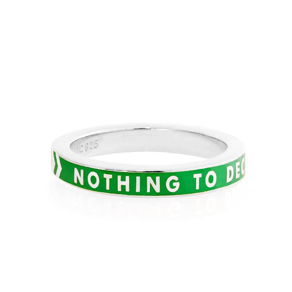 Green Enamel Ring in Sterling Silver, Nothing to Declare - JET SET CANDY
