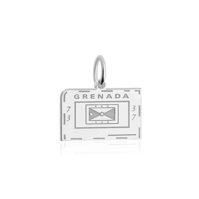 Sterling Silver Travel Charm, Grenada Passport Stamp - JET SET CANDY