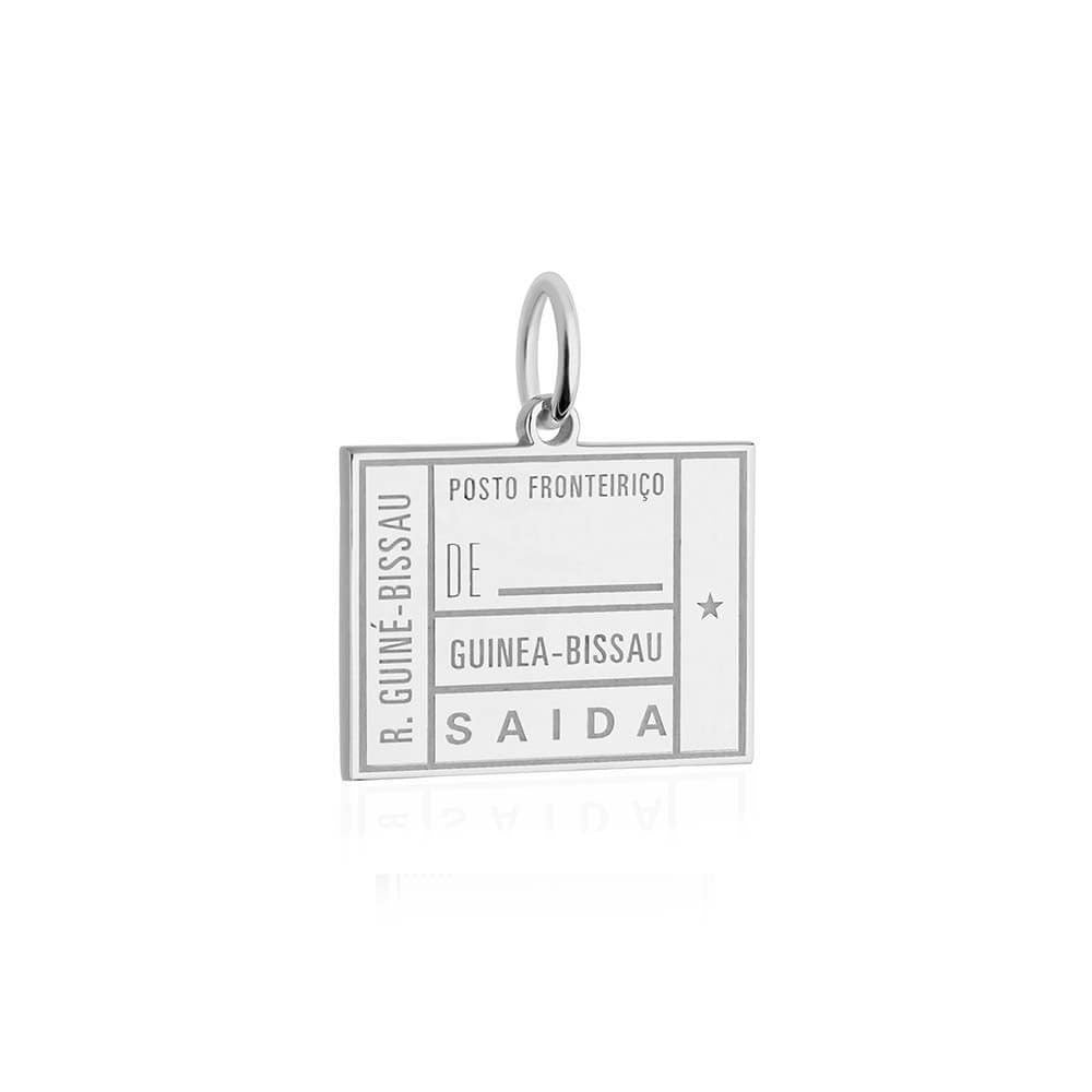 Sterling Silver Charm, Guinea-Bissau Passport Stamp - JET SET CANDY