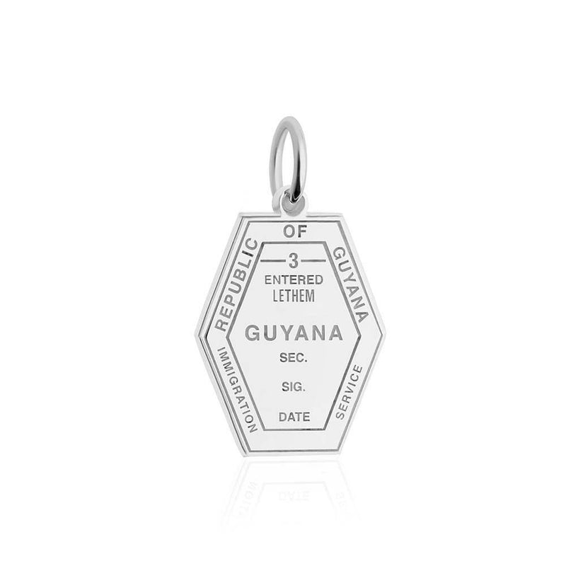 Sterling Silver Travel Charm, Guyana Passport Stamp - JET SET CANDY