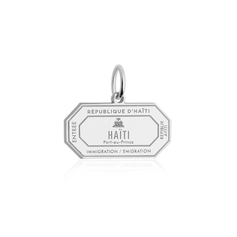 Sterling Silver Travel Charm, Haiti Passport Stamp (SHIPS JULY) - JET SET CANDY