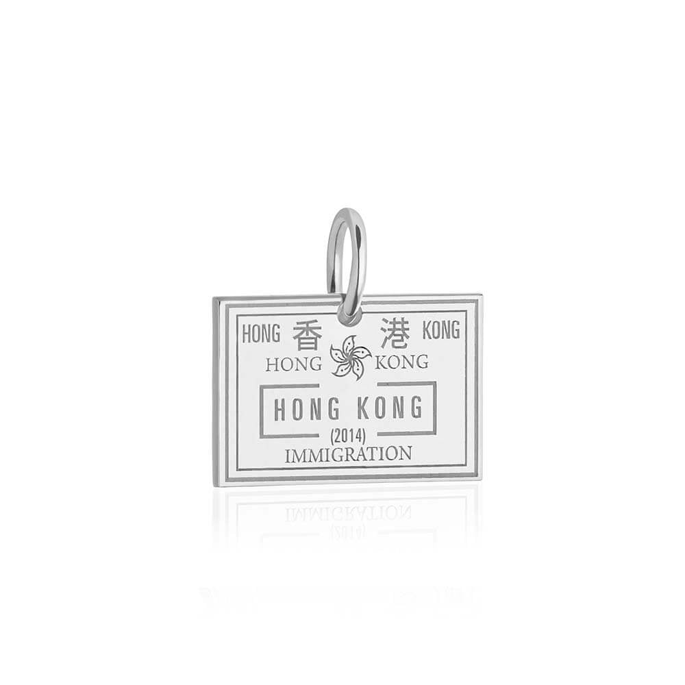Sterling Silver Hong Kong Charm, Passport Stamp - JET SET CANDY