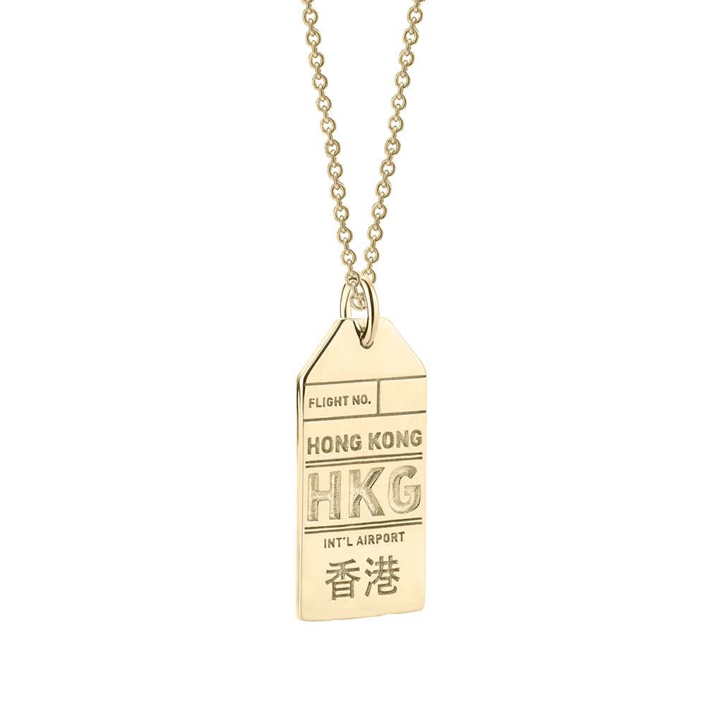 Gold Hong Kong Charm, HKG Luggage Tag - JET SET CANDY