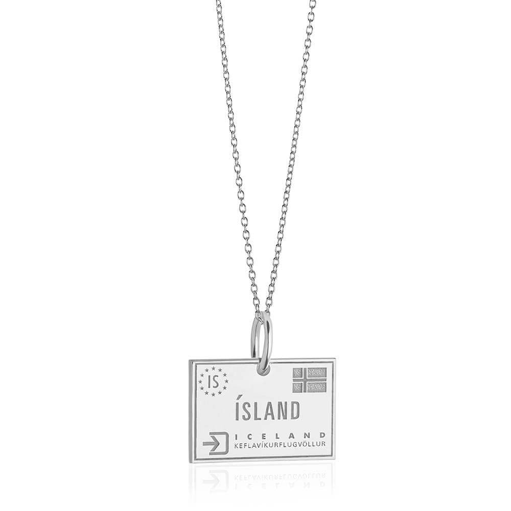 Sterling Silver Travel Charm, Iceland Passport Stamp - JET SET CANDY