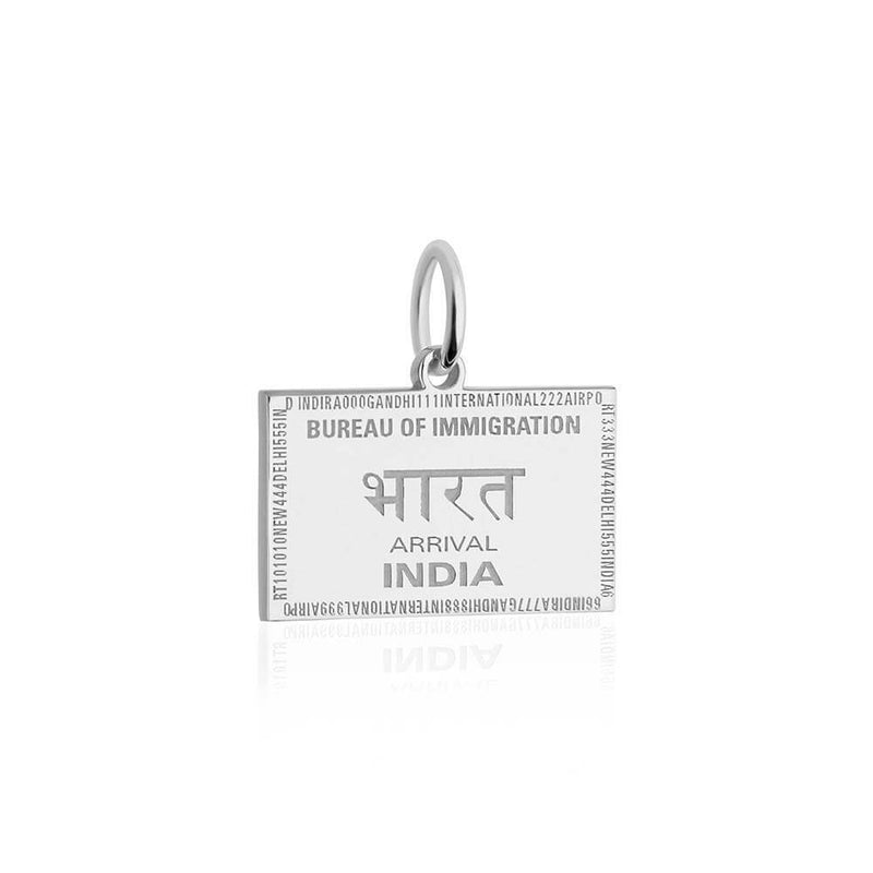 Sterling Silver Travel Charm, India Passport Stamp - JET SET CANDY