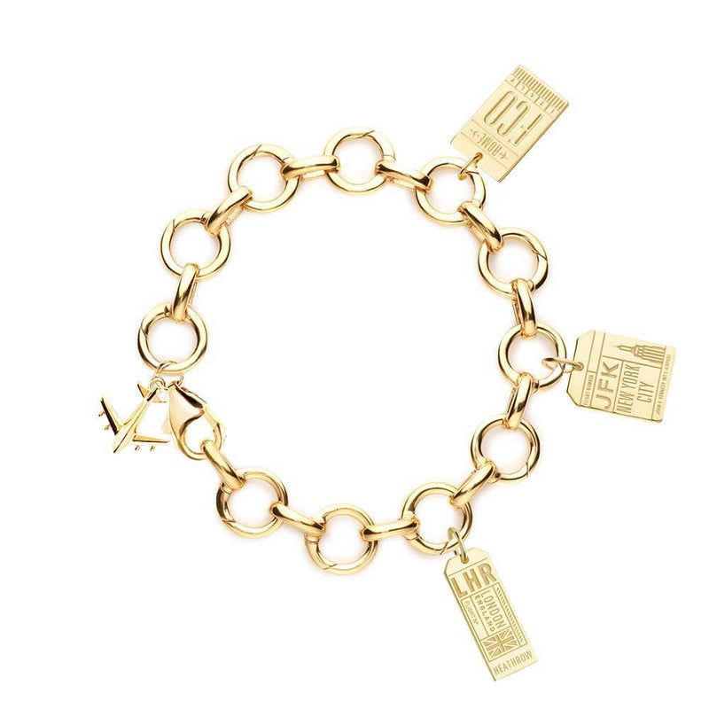 GOLD CHARM BRACELET WITH 3 LUGGAGE TAG CHARMS (MINI PLANE SHIPS JUNE) - JET SET CANDY