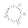 SILVER CHARM BRACELET WITH 3 PASSPORT STAMP CHARMS (SHIPS JUNE) - JET SET CANDY