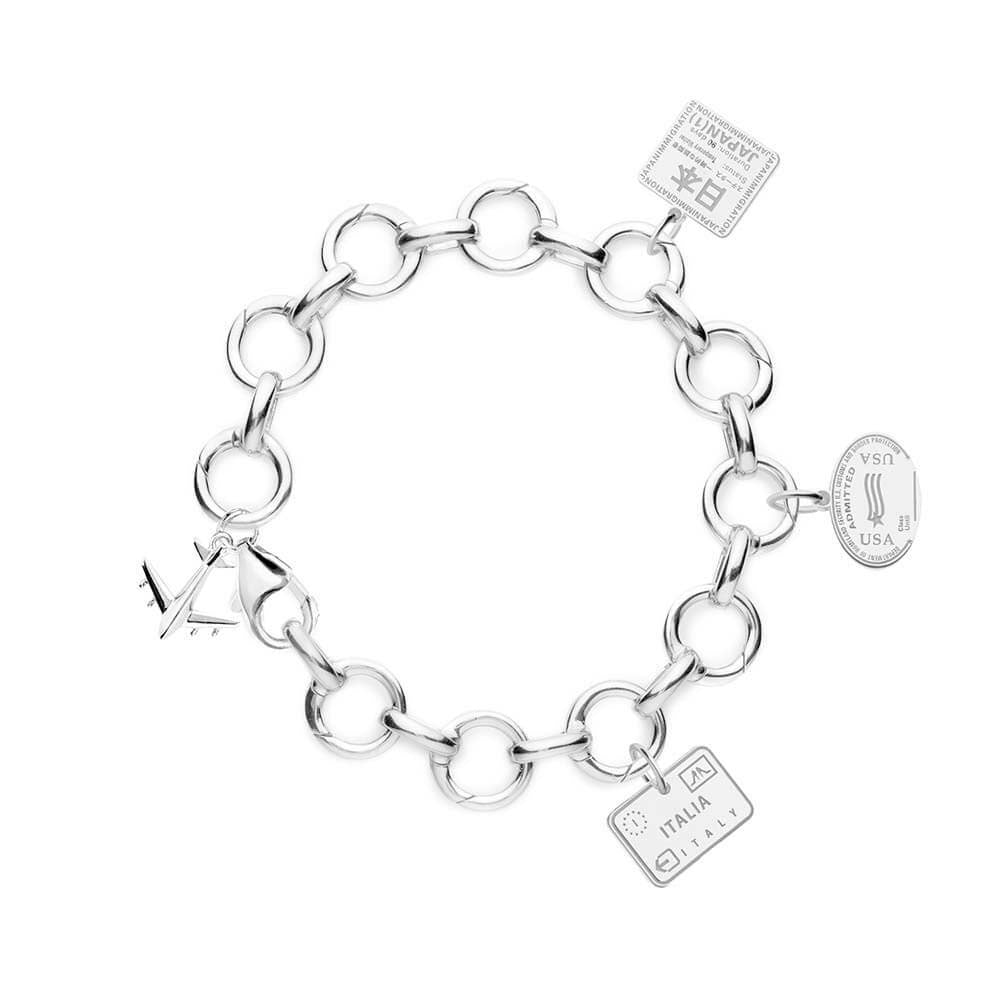 STERLING SILVER CHARM BRACELET WITH 3 PASSPORT STAMP CHARMS - JET SET CANDY