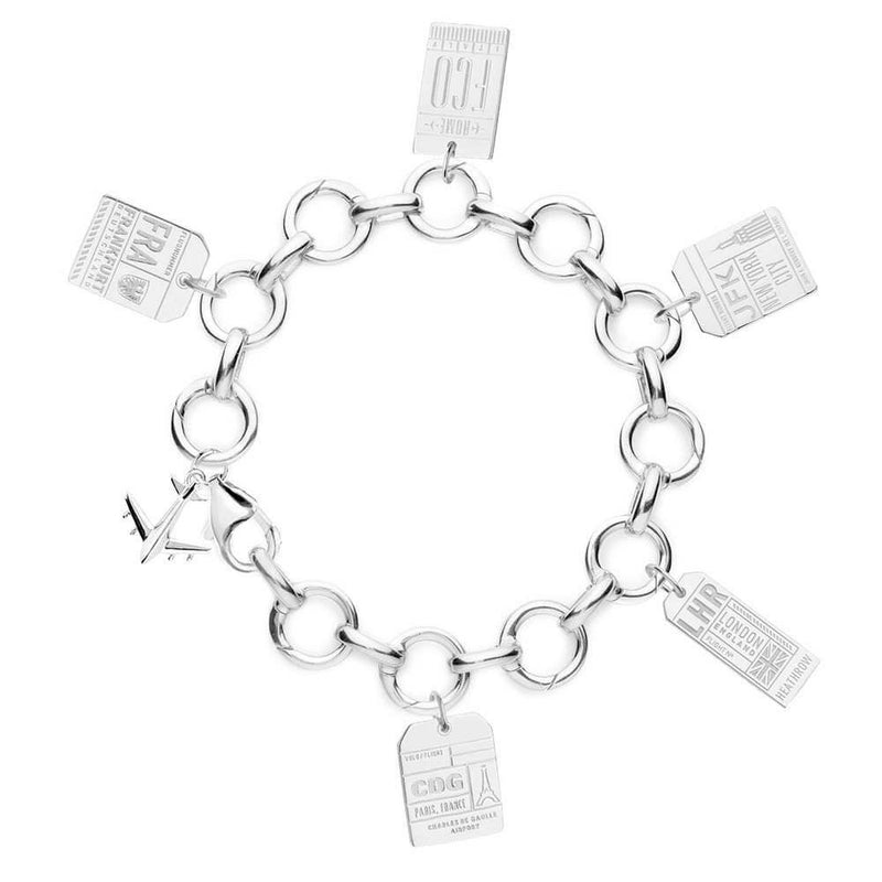 STERLING SILVER CHARM BRACELET WITH 5 LUGGAGE TAG CHARMS (MINI PLANE SHIPS APRIL) - JET SET CANDY