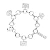 SILVER CHARM BRACELET WITH 5 PASSPORT STAMP CHARMS (SHIPS JUNE) - JET SET CANDY