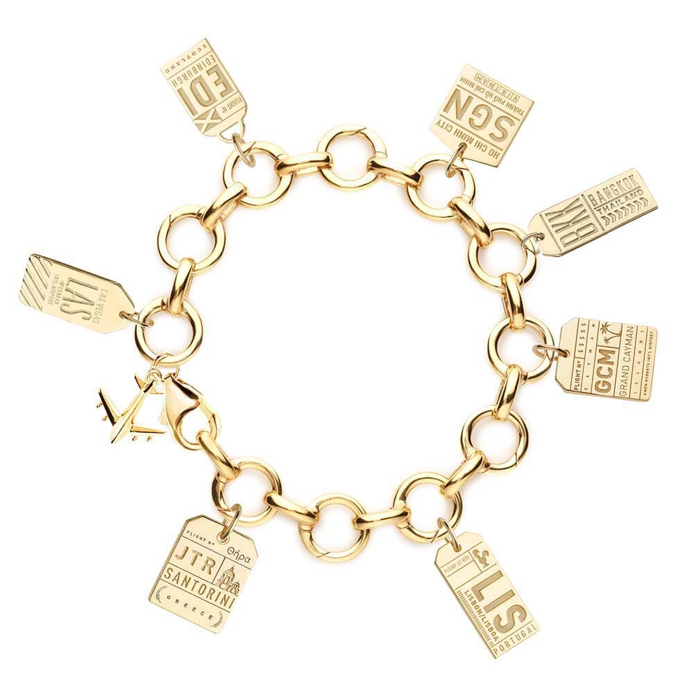 GOLD CHARM BRACELET WITH 7 LUGGAGE TAG CHARMS (MINI PLANE SHIPS JUNE) - JET SET CANDY
