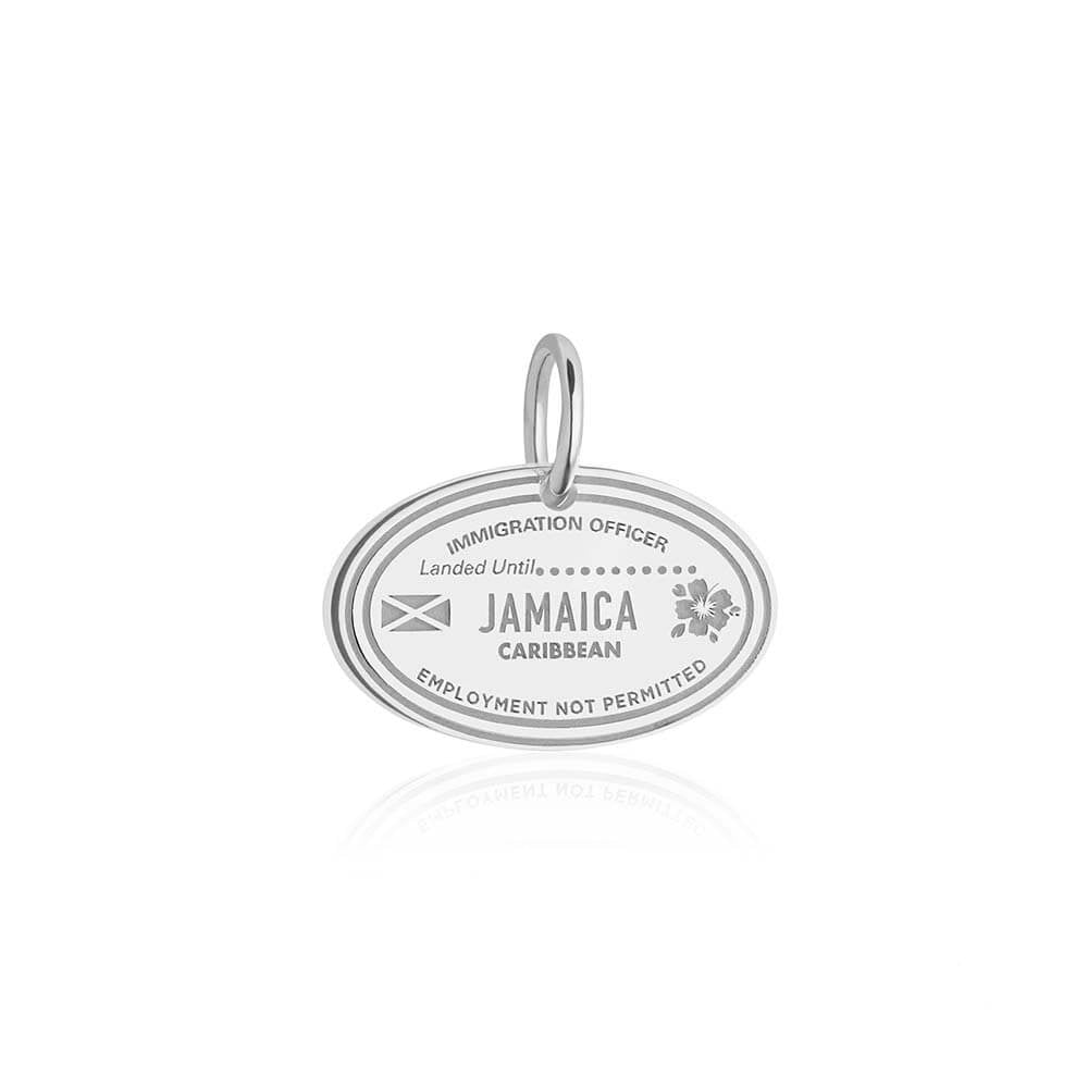 Sterling Silver Travel Charm, Jamaica Passport Stamp - JET SET CANDY