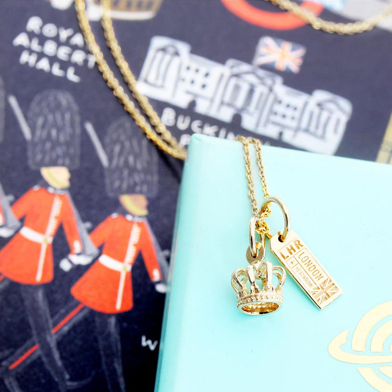 Solid Gold Mini Crown Charm