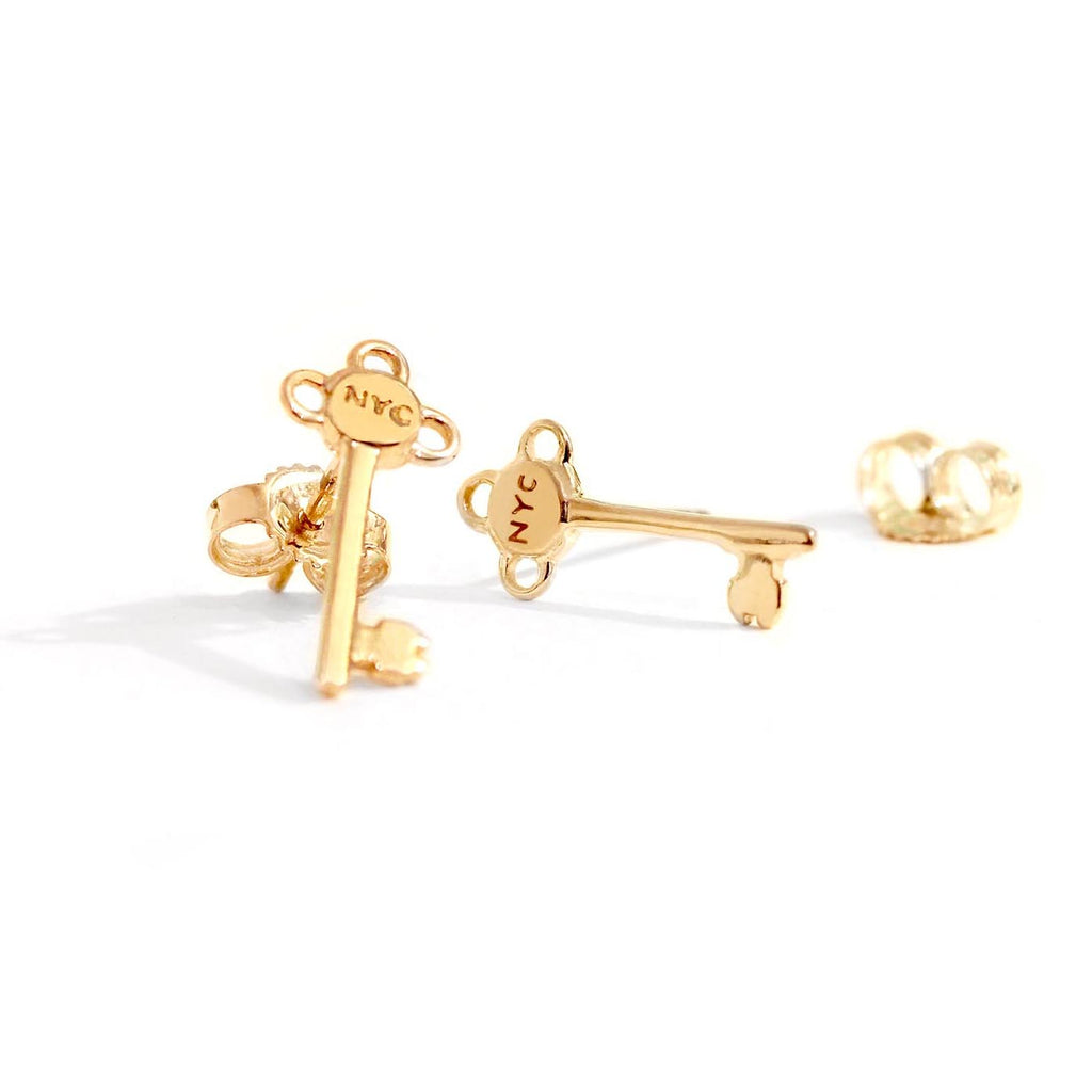Gold New York City Key Earrings - JET SET CANDY