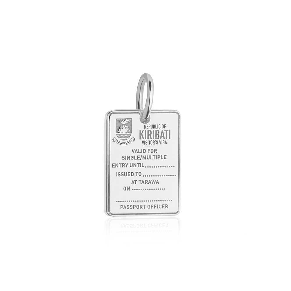 Sterling Silver Travel Charm, Kiribati Passport Stamp - JET SET CANDY