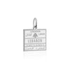 Sterling Silver Travel Charm, Lebanon Passport Stamp - JET SET CANDY