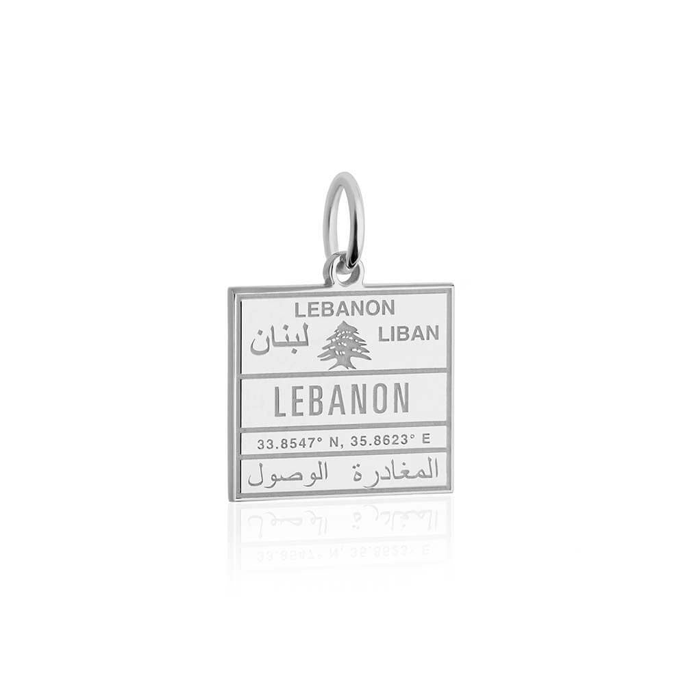 Sterling Silver Travel Charm, Lebanon Passport Stamp (BACK ORDER-SHIPS FEBRUARY) - JET SET CANDY