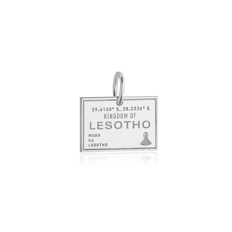 Sterling Silver Travel Charm, Lesotho Passport Stamp - JET SET CANDY