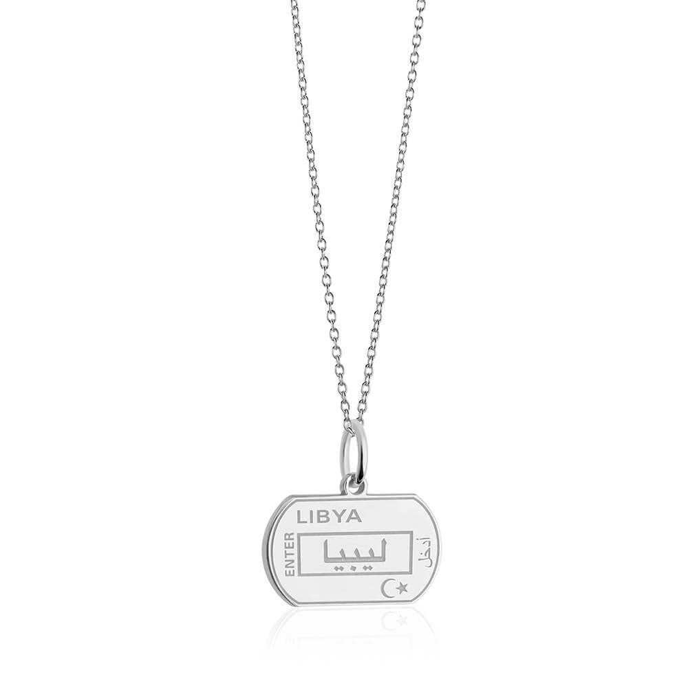 Sterling Silver Travel Charm, Libya Passport Stamp - JET SET CANDY