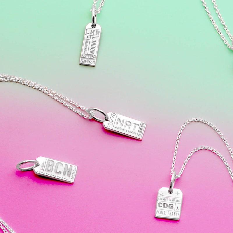 Mini Silver London Necklace, LHR Luggage Tag Charm (BACK ORDER-SHIPS LATE JANUARY) - JET SET CANDY