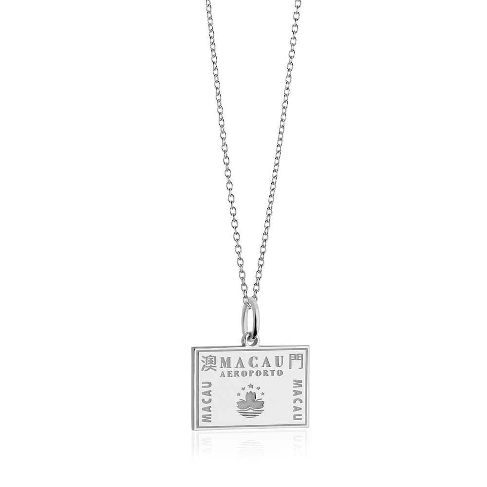 Sterling Silver Travel Charm, Macau Passport Stamp - JET SET CANDY