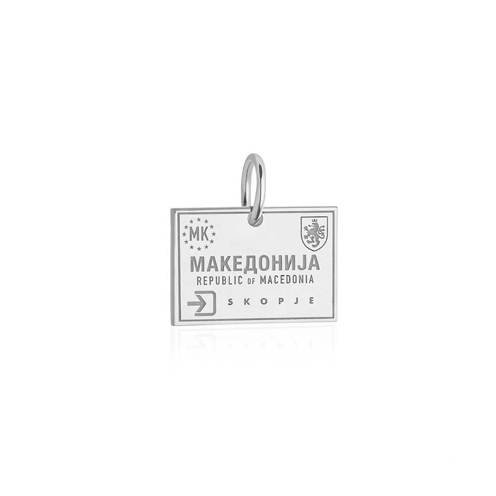 Sterling Silver Charm, Macedonia Passport Stamp - JET SET CANDY