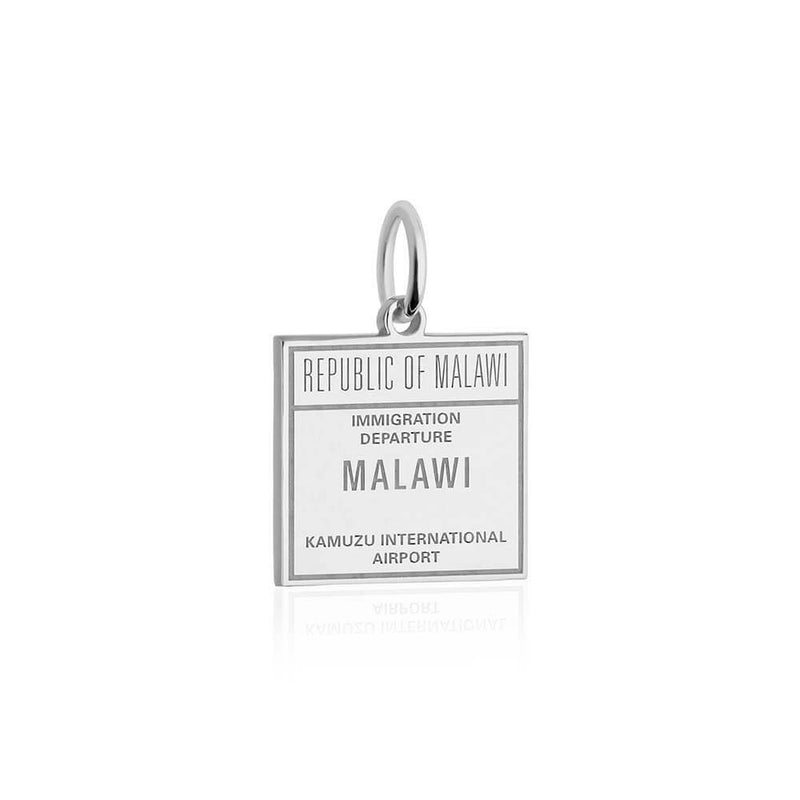 Sterling Silver Travel Charm, Malawi Passport Stamp - JET SET CANDY