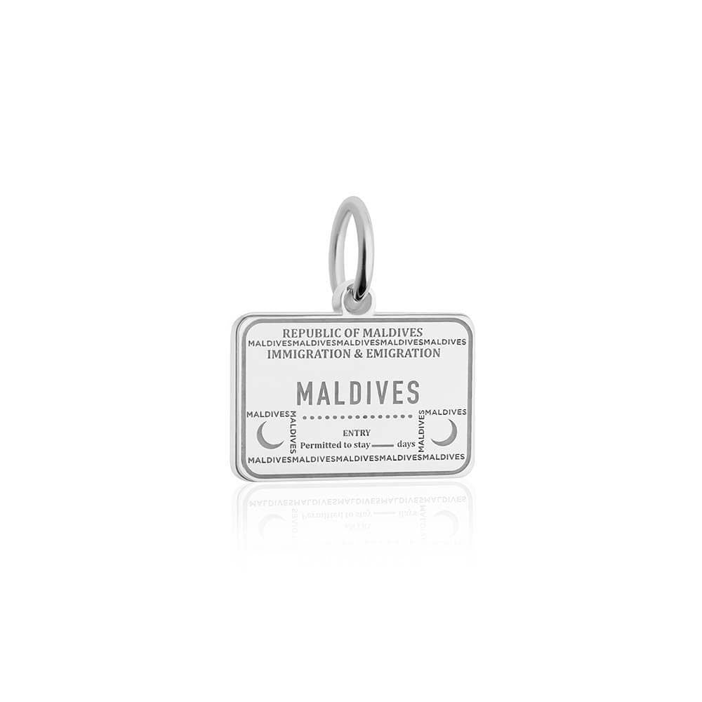Sterling Silver Travel Charm, Maldives Passport Stamp - JET SET CANDY