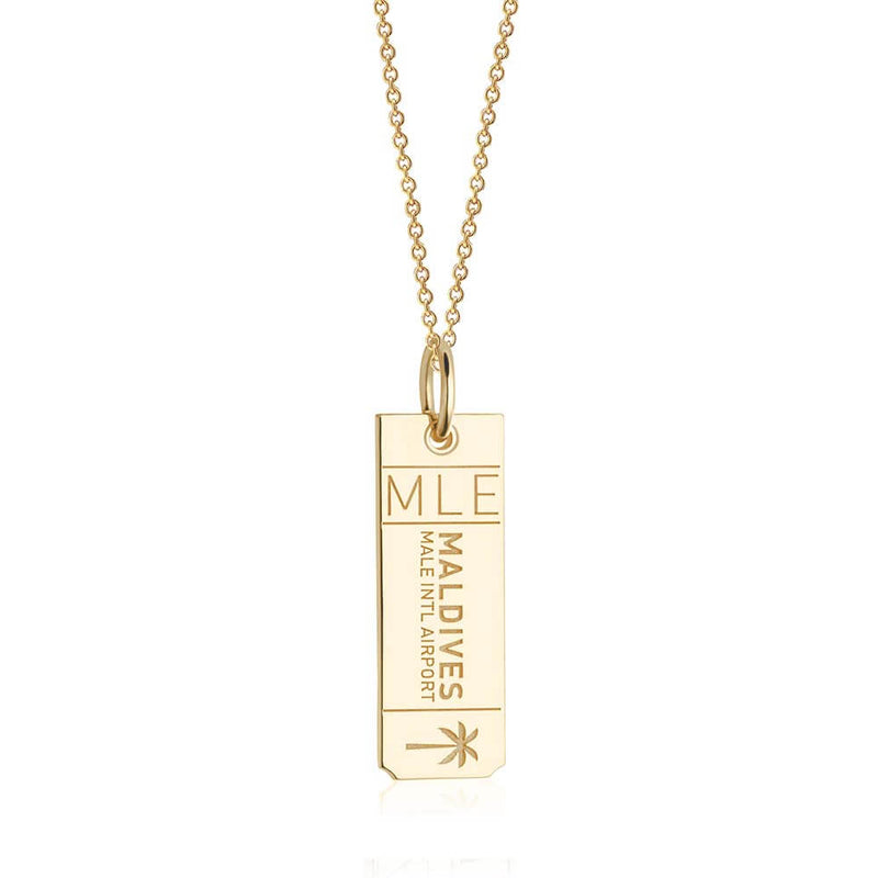 Gold Travel Charm, MLE Maldives Luggage Tag - JET SET CANDY