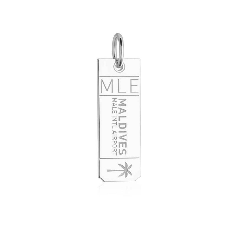 Silver Travel Charm, MLE Maldives Luggage Tag - JET SET CANDY