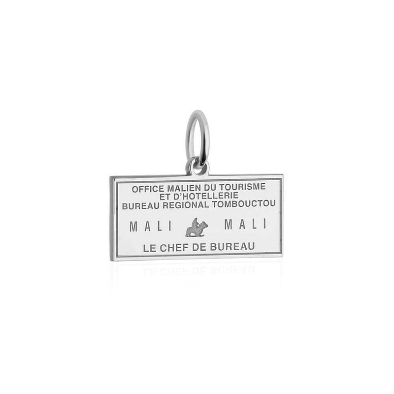Sterling Silver Travel Charm, Mali Passport Stamp - JET SET CANDY