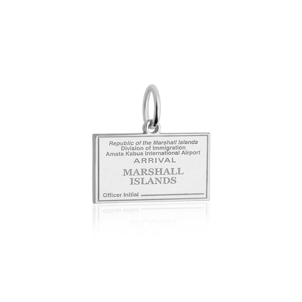 Sterling Silver Charm, Marshall Islands Passport Stamp - JET SET CANDY