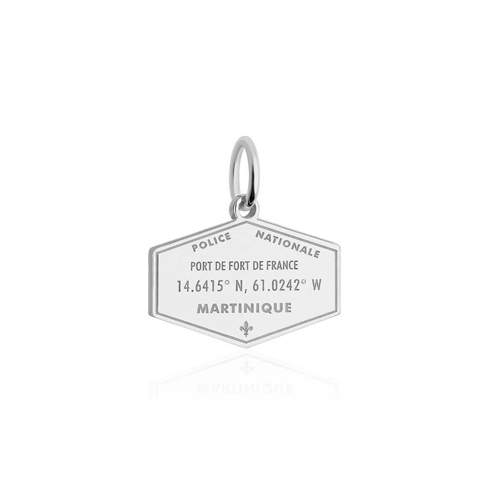 Sterling Silver Travel Charm, Martinique Passport Stamp - JET SET CANDY