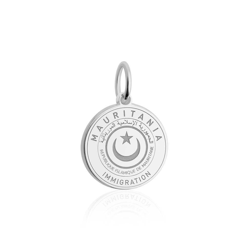 Sterling Silver Charm, Mauritania Passport Stamp - JET SET CANDY