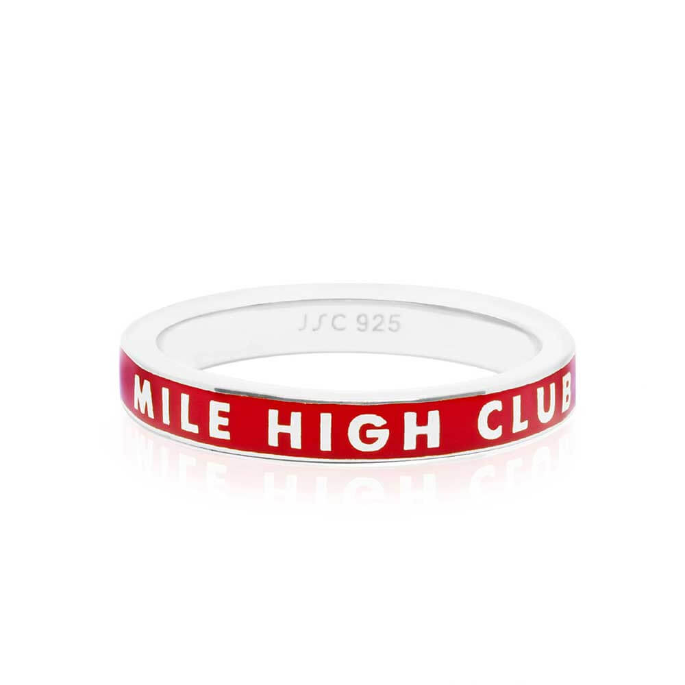 Red Enamel Ring Sterling Silver, Mile High Club - JET SET CANDY