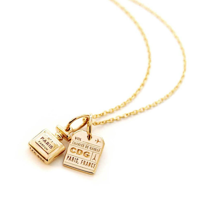 Mini Perfume Bottle Charm in Solid Gold - JET SET CANDY