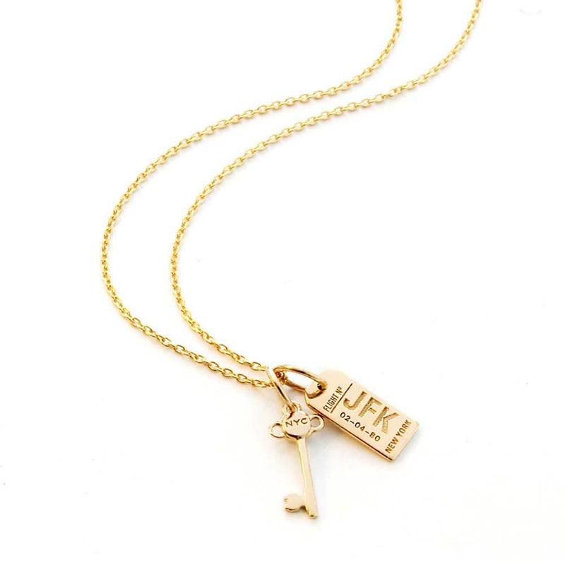 Solid Gold New York Mini Key Charm - JET SET CANDY