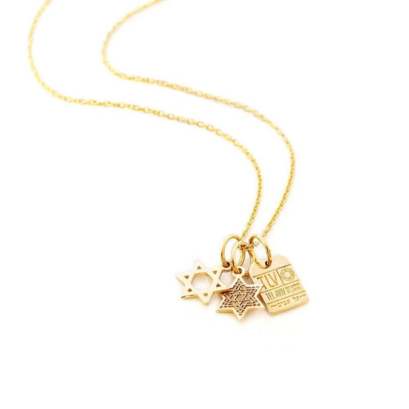 Solid Gold Mini Charm, Star of David - JET SET CANDY