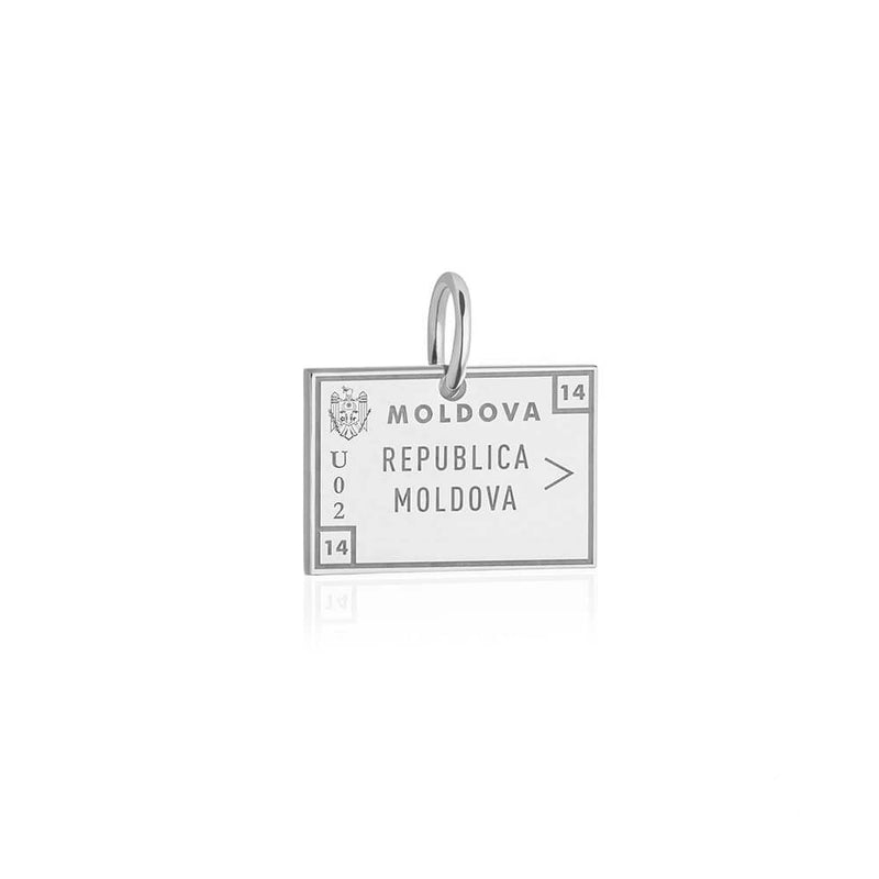 Sterling Silver Travel Charm, Moldova Passport Stamp - JET SET CANDY