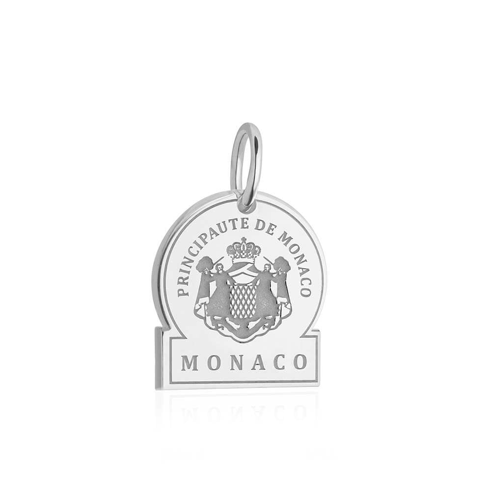 Sterling Silver Travel Charm, Monaco Passport Stamp (SHIPS JUNE) - JET SET CANDY
